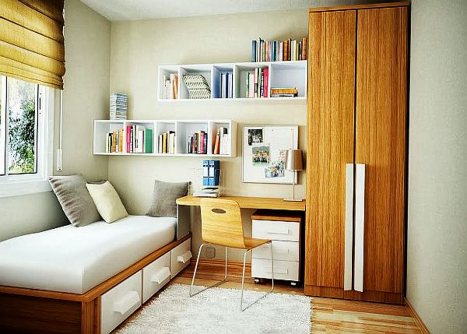 Storage-Ideas-for-Small-Bedrooms-Wooden-Bed-Frame-with-Drawers-Brown-Blind-Wooden-Floor-White-Rug-915x654