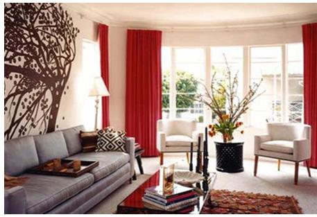 vải bố mộc mạc giúp phòng khách đơn giản giản nhưng hiện đại